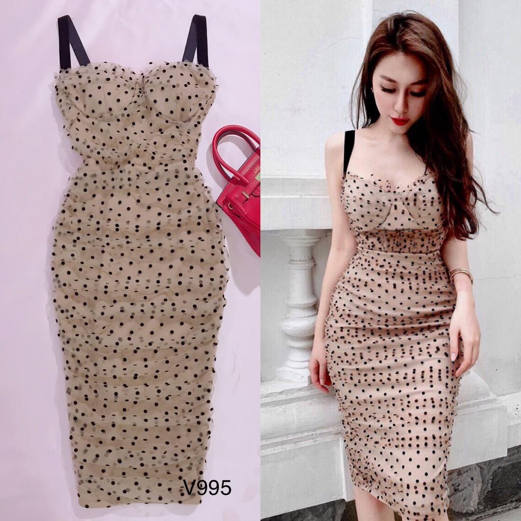 Váy body be chấm bi V995 - Min's Shop DVC (Kèm ảnh thật trải sàn do shop tự chụp)