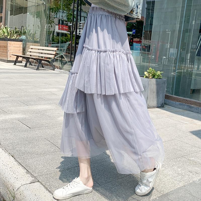 Chân Váy Dài Dáng Chữ A Lưng Cao Thiết Kế Không Đồng Đều Thời Trang 2020