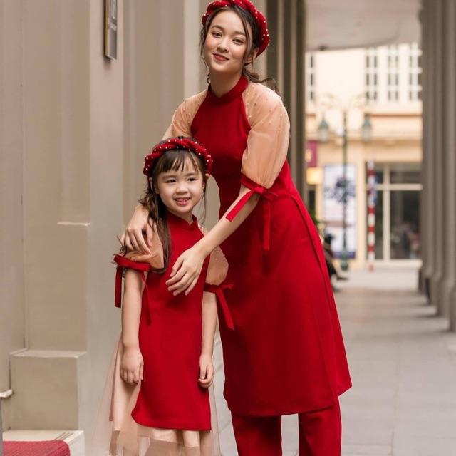 Set 2 áo dài cách tân cho mẹ và bé