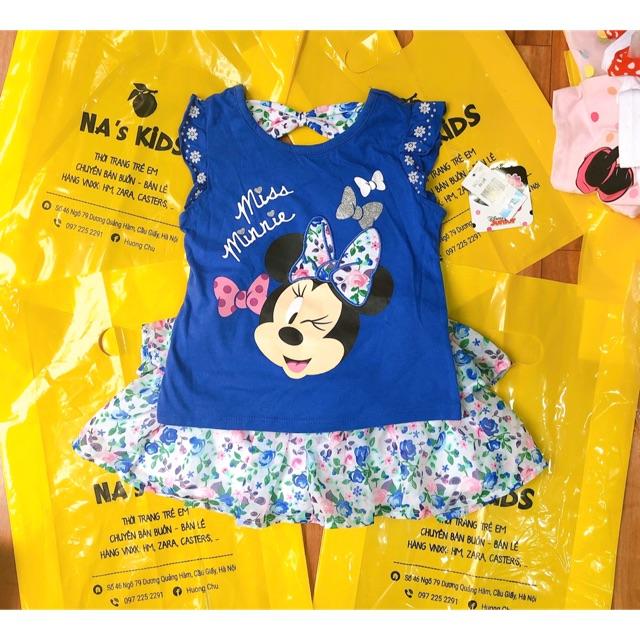 Set áo kèm chân váy disney dư xịn màu xanh cho bé gái