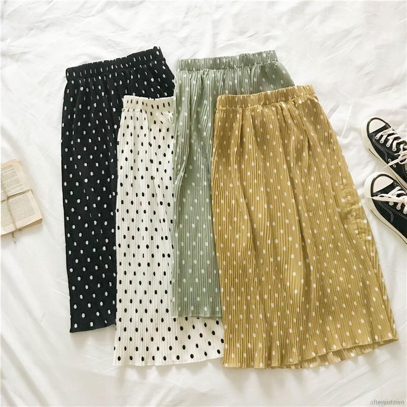 Chân váy dài lưng thun co dãn phối dây thắt họa tiết chấm bi thời trang cho nữ