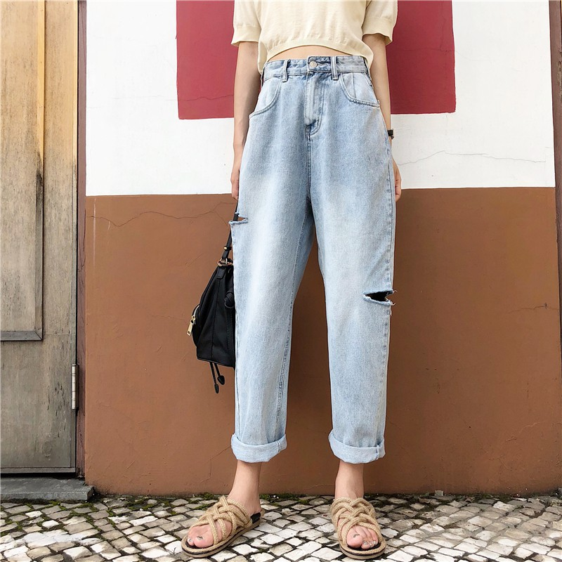 FREESHIP ĐƠN 99K_ Quần jeans nữ dài kiểu rách đơn giản