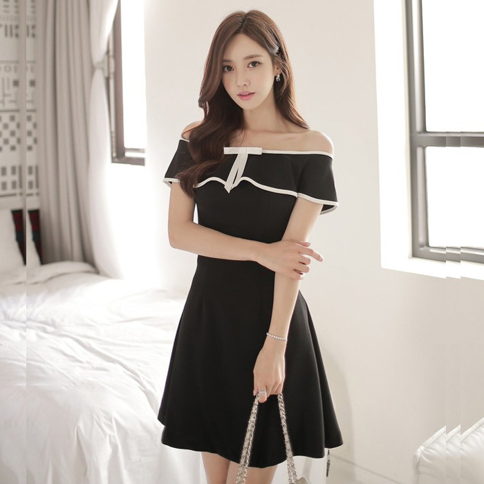 Đầm xòe The Xuchu trễ vai phối nơ thời trang - THEXUCHU-02-DEN - 1803891