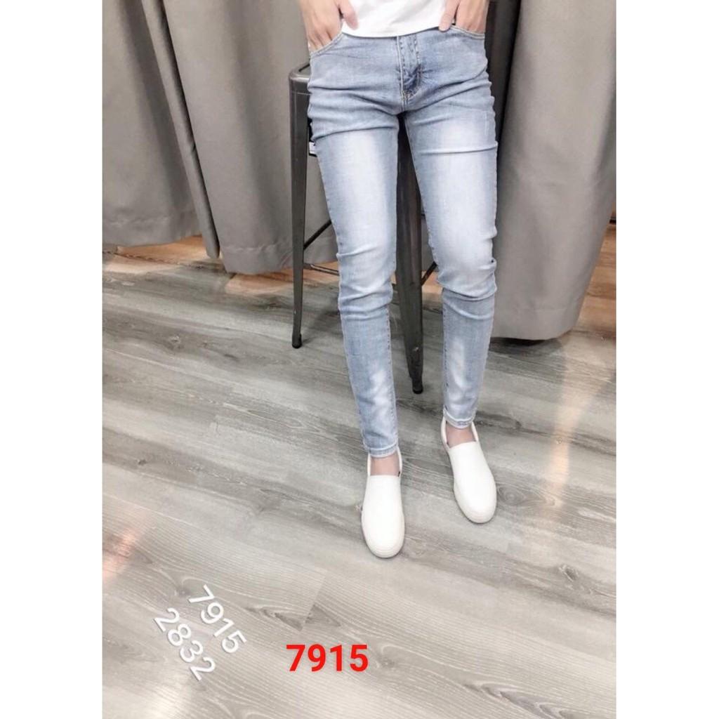 Quần jean nam wash bạc form chuẩn, MS 7915