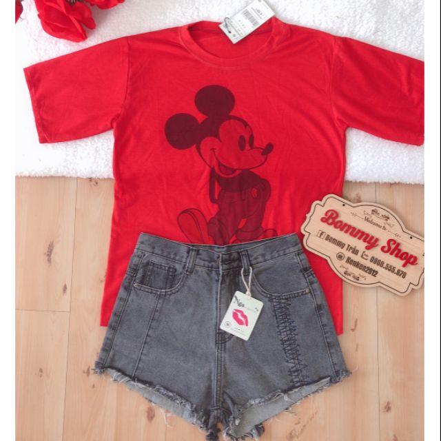Sét áo thun micky phối quần đùi jean