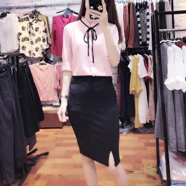 [RẺ VÔ ĐỊCH ]Chân váy công sở sẻ tà trước đến gối