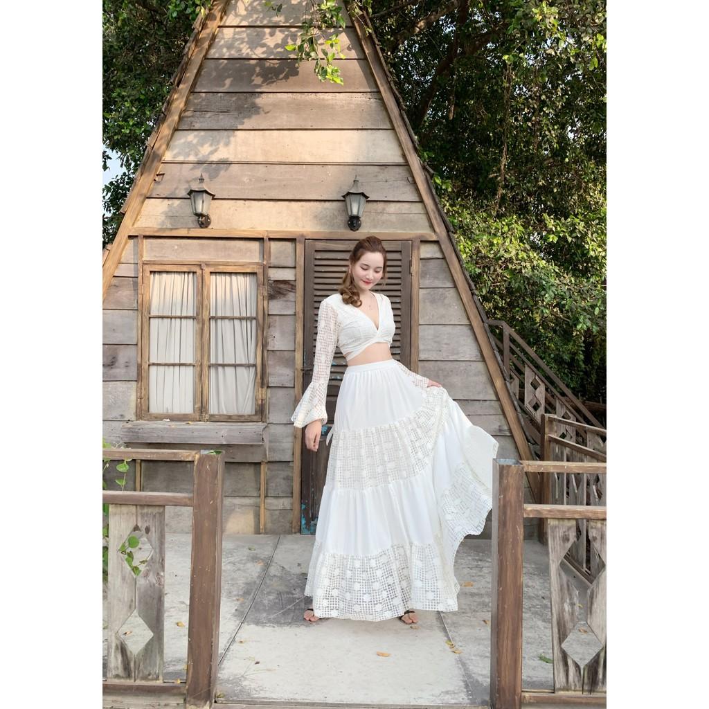 7720366277 - Set đầm maxi trắng sang trọng, váy mới nhất 2020