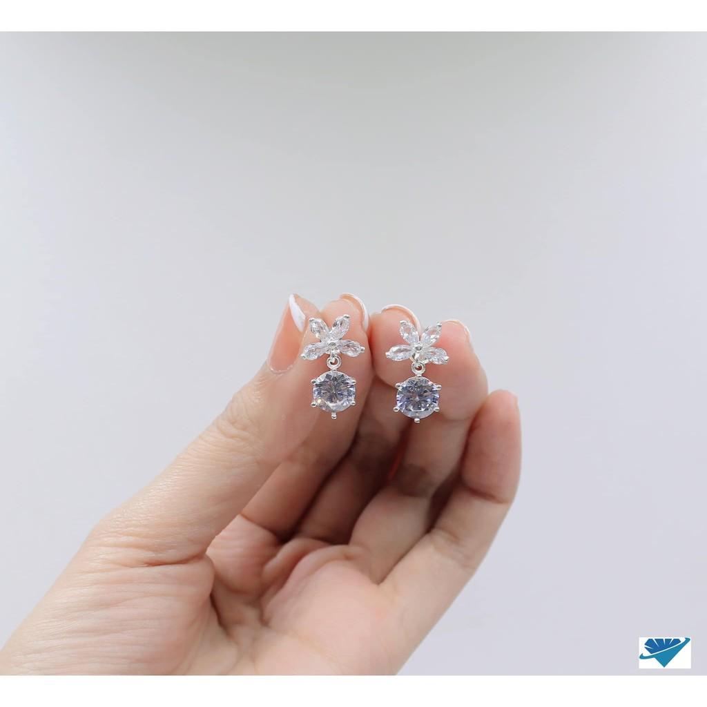 Bông tai hóa 4 cánh đá chủ 6mm bạc cao cấp s99 cho nữ