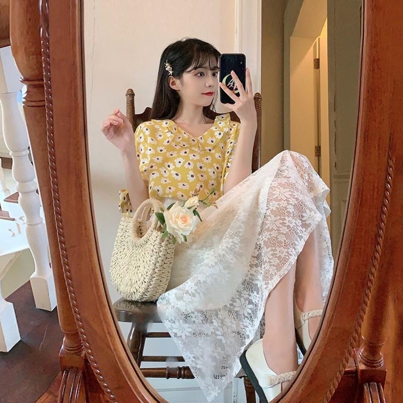 Bộ Áo Ren Hoa + Chân Váy Thời Trang Xinh Xắn Cho Nữ 2020