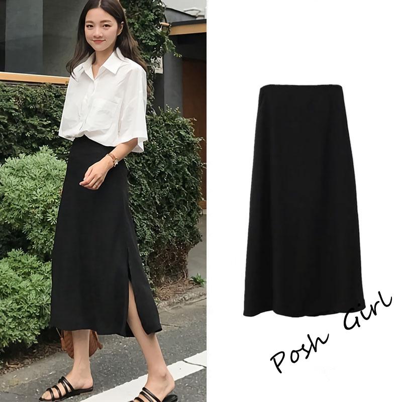 Chân Váy Chữ A Lưng Cao Màu Đen Thời Trang Hàn Quốc
