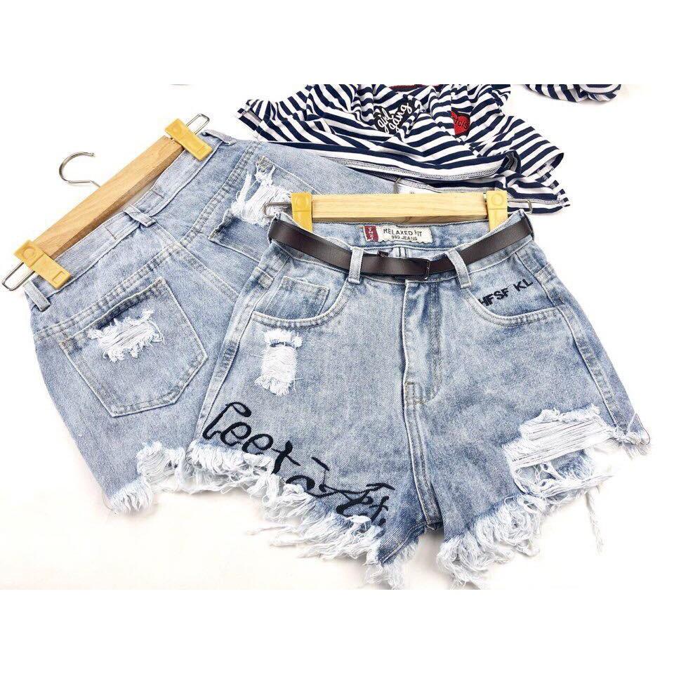 Quần short jean lưng cao thêu chữ