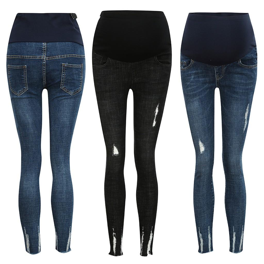 Quần jeans bà bầu dài màu trơn