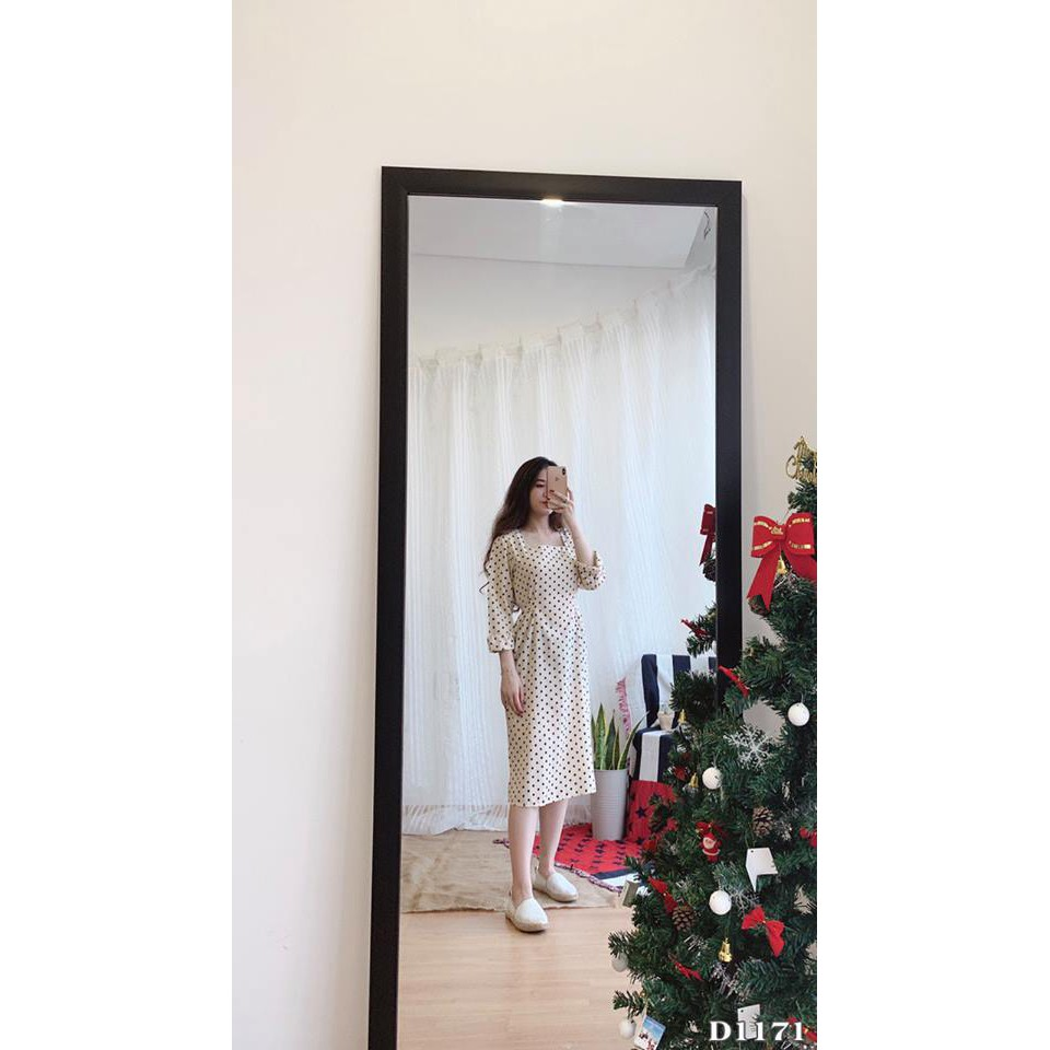 Đầm bi nude nơ eo