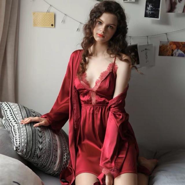 LL 484 Váy ngủ dạng áo choàng kèm set áo ngực và - đầm ngủ satin lụa cao cấp