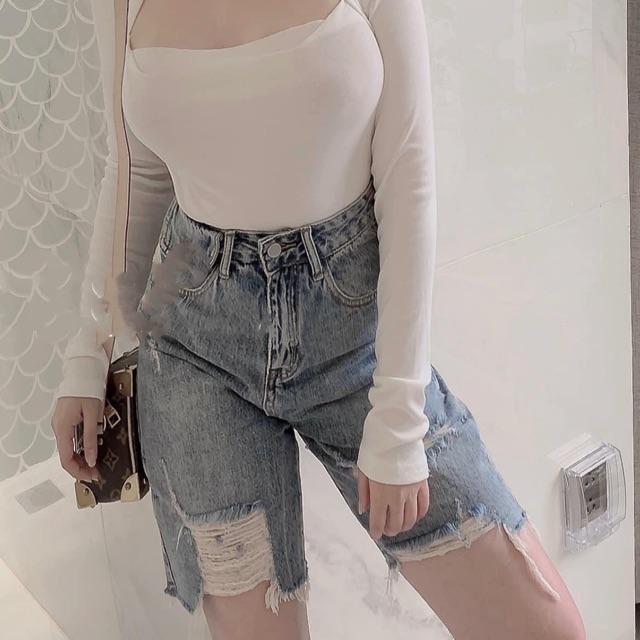 Quần jean ngố / lửng BIG SIZE lưng cao, rách bụi màu xanh đá, phom RỘNG đẹp thời trang hot trend dành cho người béo 3250