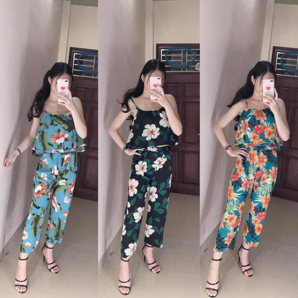 [GIÁ ƯU ĐÃI] HS Set quần dài+áo 2 dây hoa to -ROTASHOP