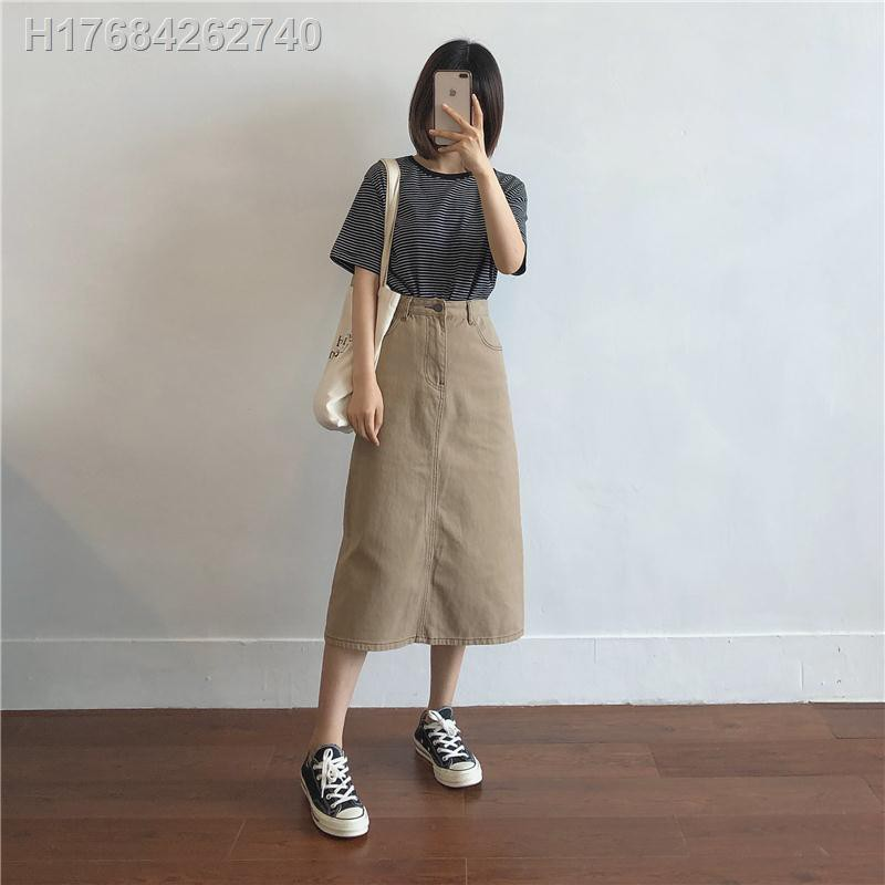 Chân Váy Denim Dáng Chữ A Lưng Cao Phong Cách Retro 2020