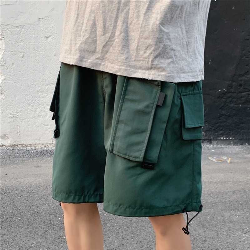 Korean Style Men's Oversize Loose Fit Cargo Short Pants In Plain Green Black With Many Side Pockets