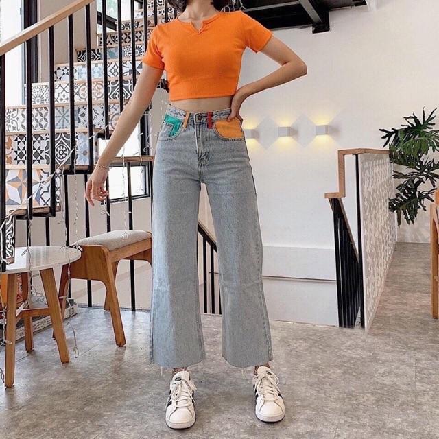 Quần jean cullotes túi màu hothit