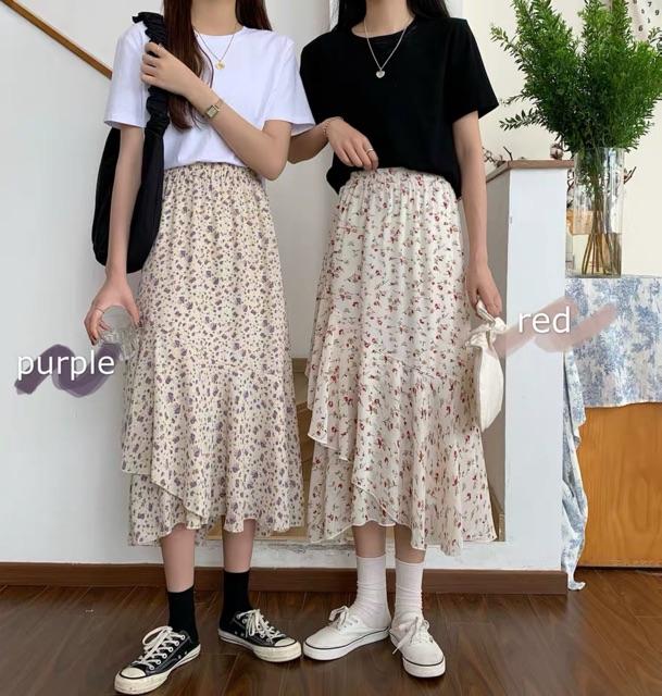 Chân váy hoa nhí vintage chéo vạt siêu xinh  CV6613 Hàng Quảng Châu