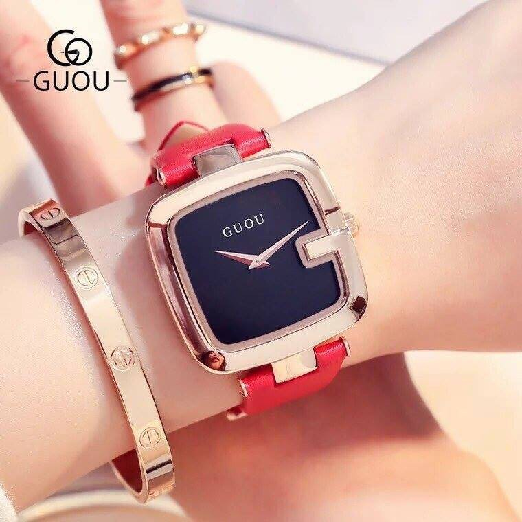 Đồng hồ nữ GUOU dây da hàng chính hãng size 36mm