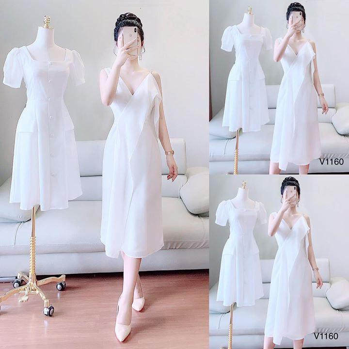 Váy đầm trắng quyến rũ V1160 Mie Design kèm ảnh thật