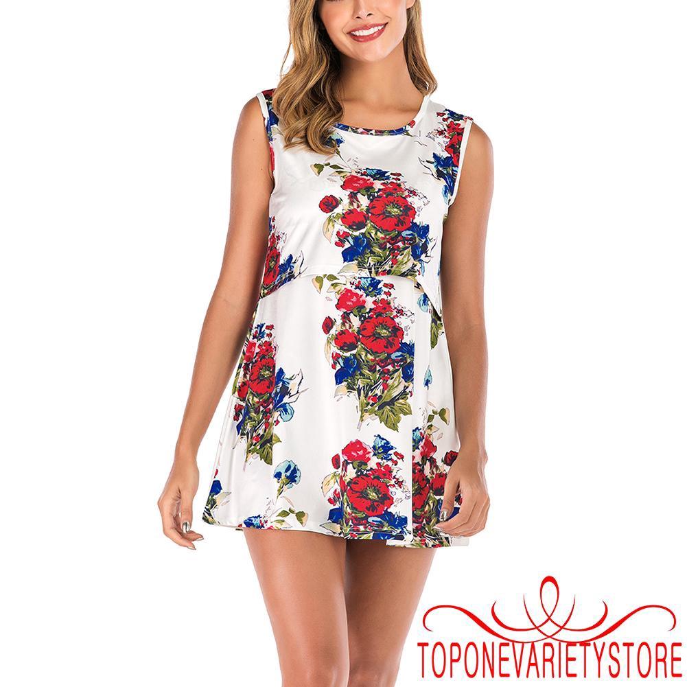 4112994150 - ❣TOP☞Women´s Floral Short Sleeve Summer Maternity Nursing Breastfeeding Dress Ladies Maternity Clothes