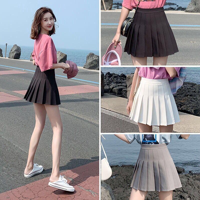 Chân Váy Chữ A Lưng Cao Xếp Ly Thời Trang Hàn Quốc Cho Nữ