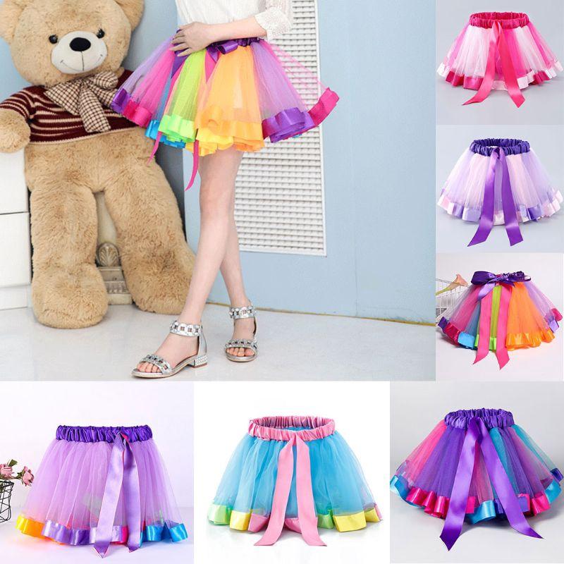Chân váy chữ A satin phối bèo màu cầu vồng dành cho bé gái 0-8 tuổi múa ba lê/khiêu vũ