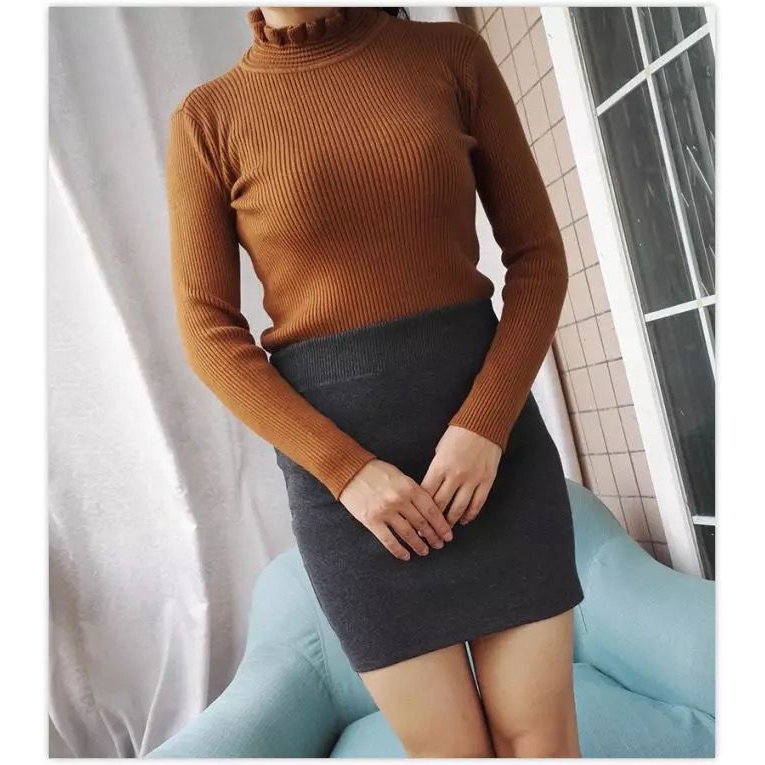 Chân Váy Dệt Kim Lưng Cao Co Giãn Thời Trang Cho Nữ