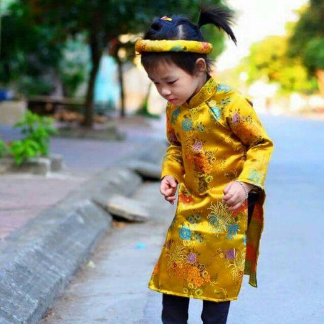 Áo dài cách tân bé gái - gấm Thượng Hải