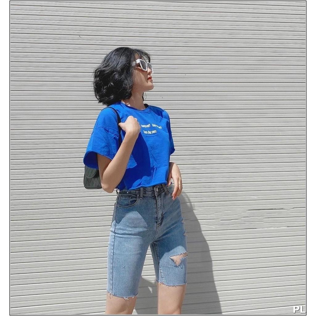 quần jean ngố rách 1 BÊN CẮT + XẺ SIÊU ĐẸP 2184 H1N-09