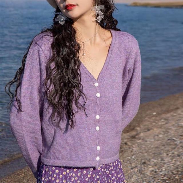 Set đầm hoa+áo len tím (ORDER)