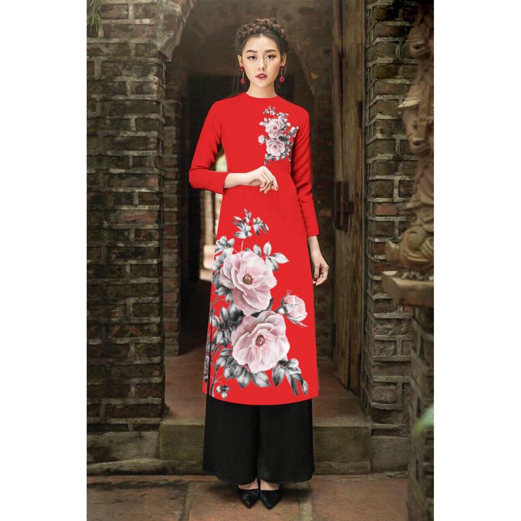 Bộ áo dài cách tân in hoa tầm xuân cao cấp - y hình