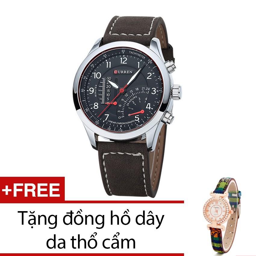 Đồng hồ nam Curren dây da mặt đen QT1583 tặng kèm 1 đồng hồ thổ cẩm