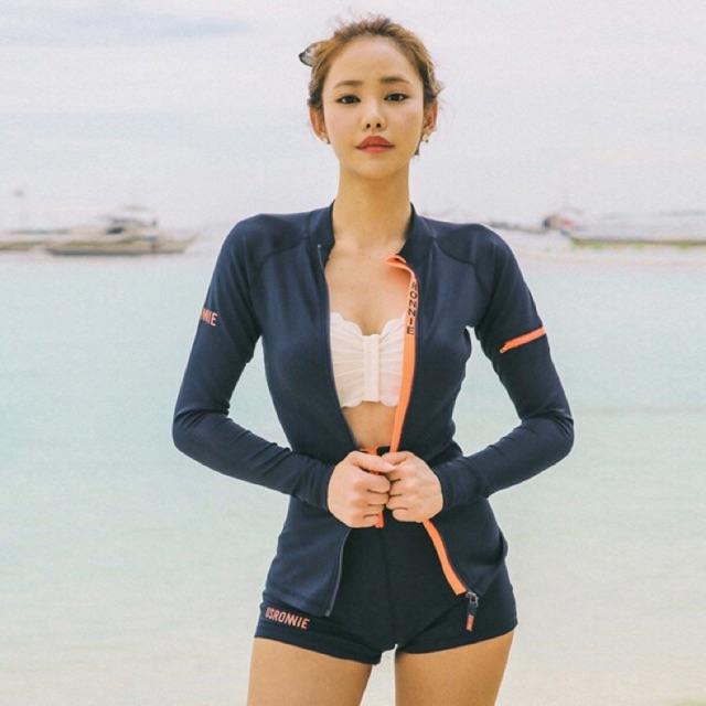 Set bikini áo khoác quần đùi cạp cao line cam