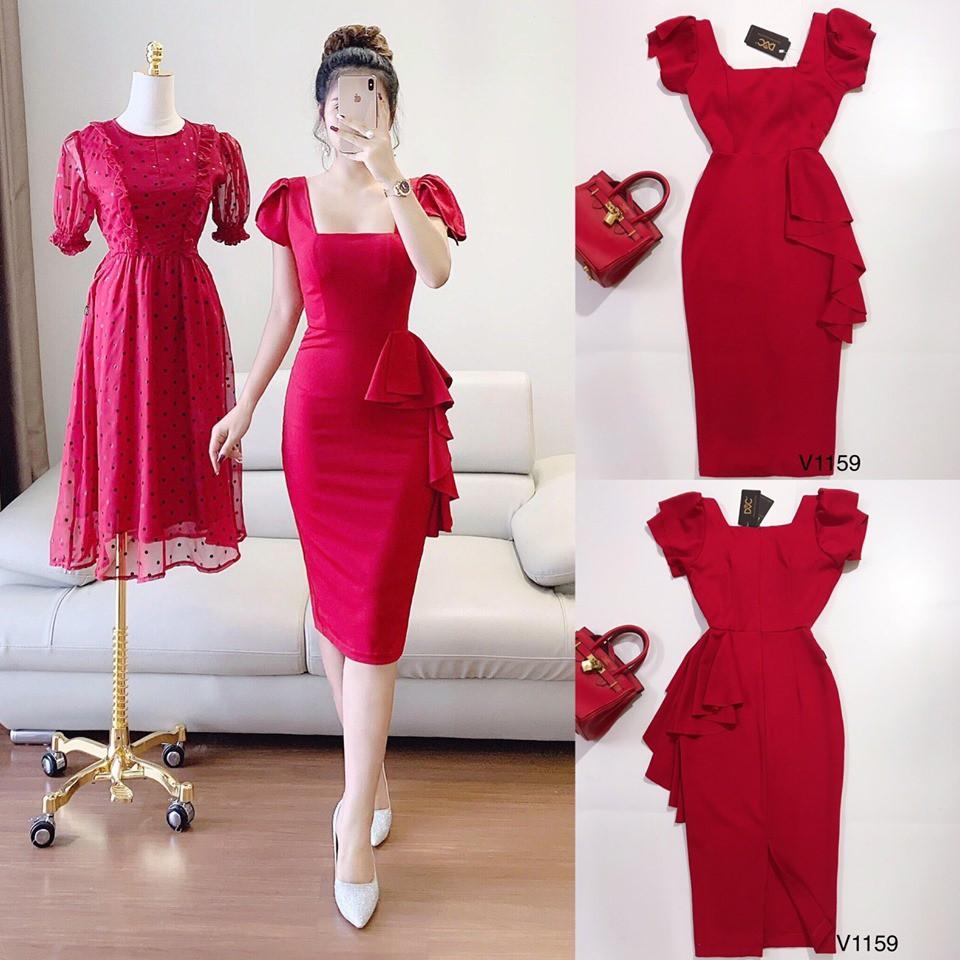 3324393348 - Váy Thiết Kế - Váy body cổ vuông nữ hoàng mã V1159 đầm dự tiệc,công sở chất liệu cao cấp thiết kế Anlee kèm ảnh thật