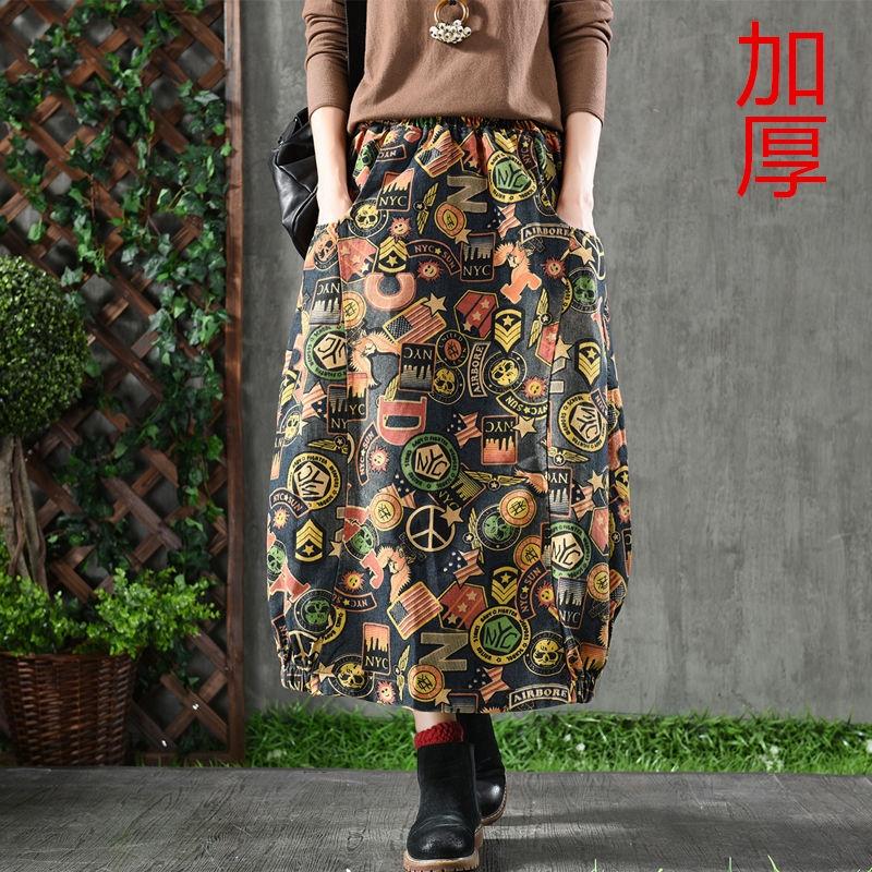 Chân Váy Denim Vải Cotton Dày Dáng Rộng In Họa Tiết Kiểu Retro Nữ Tính