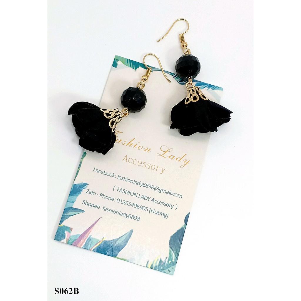 Bông tai style Hàn Quốc thời trang dễ phối quyến rũ không gây dị ứng- hoa tai hoa vải đính pha lê - đen