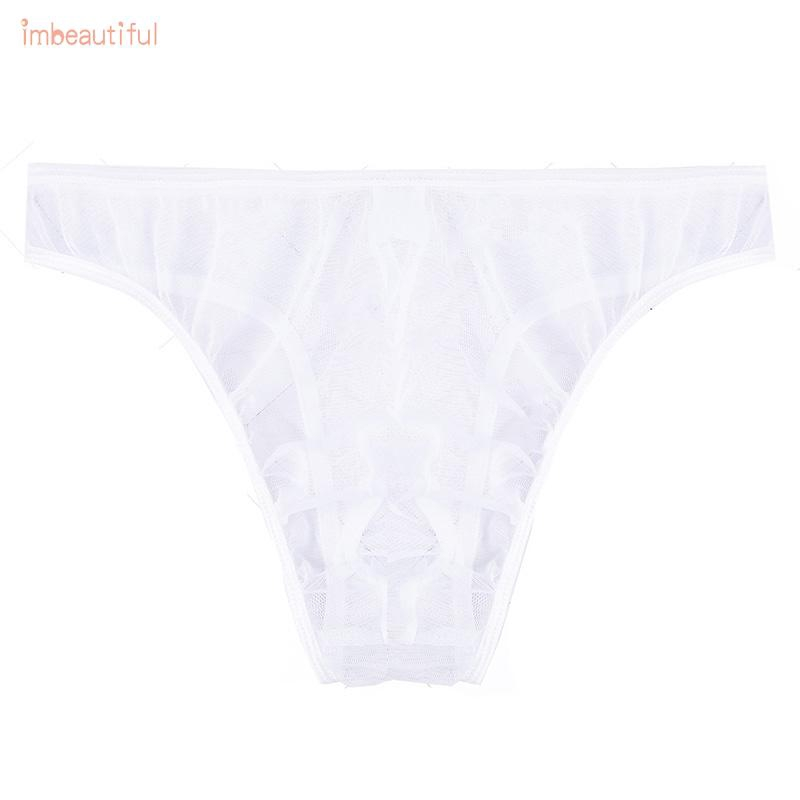 Hình ảnh Clothing Pouch Triangle Elastic Bulge G string Low waist Bikini See through Solid Men's Thongs Knickers Underpants