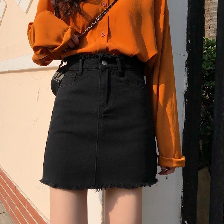 Chân Váy Jean Chữ A Lưng Cao Phong Cách Retro 2020