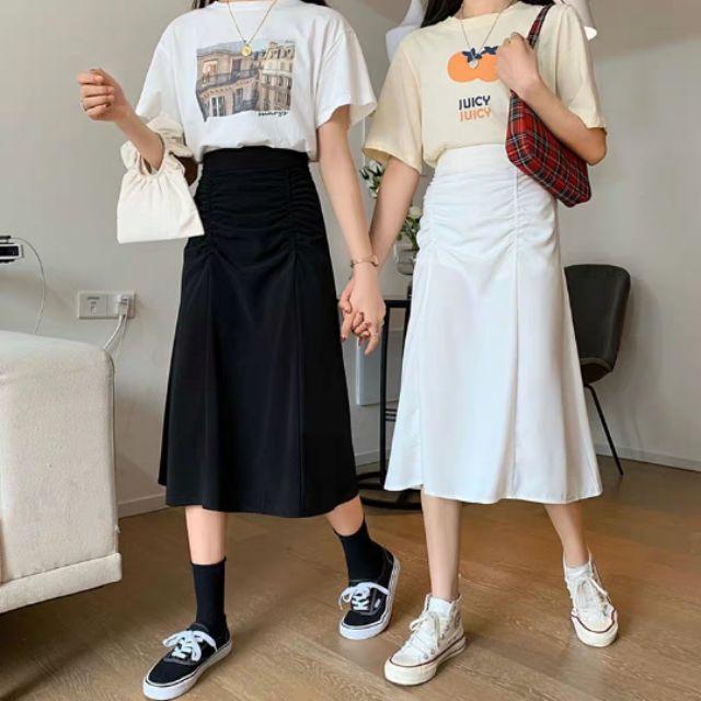 [Hàng order] Chân váy midi chữ A kiểu bèo nhún lưng chun