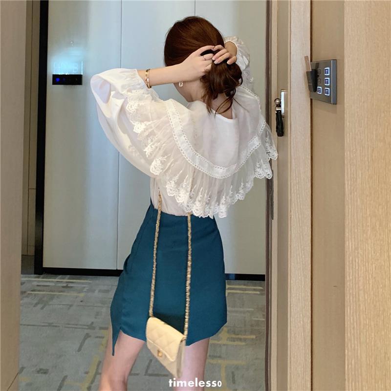 Bộ Áo Sơ Mi Dài Tay Cổ Búp Bê Phối Chân Váy Nữ Tính Thời Trang Mùa Xuân