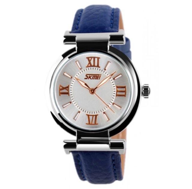 Đồng hồ nữ Skmei 9075 dây da xanh