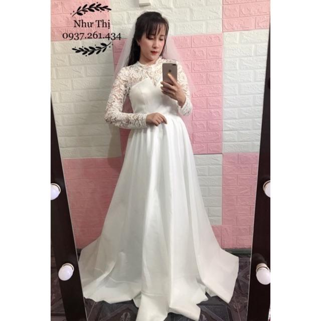 (free chỉnh sửa váy) đầm dạ hội phi trắng tay dài ren váy xòe, đầm cô dâu tay dài Hàn Quốc đơn giản chụp ảnh cưới