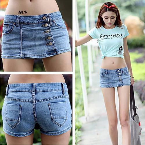 Quần Jeans giả váy phối nút thiết kế gợi cảm cho nữ