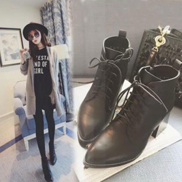Giày boots cột dây 6cm BCD01