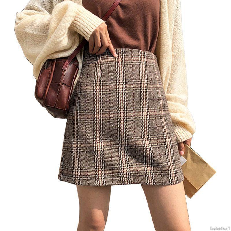 Chân váy dài họa tiết caro thời trang
