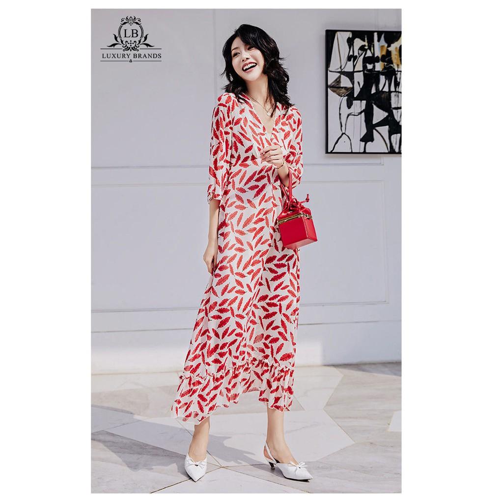 [CÓ SẴN] Váy đầm maxi dài cổ V tay ống loe đuôi cá rộng họa tiết lá đỏ thời trang đi biển đi làm hè thu 2020