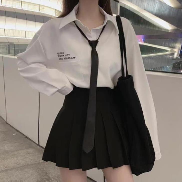 [GiảmGiá] Set Áo sơ mi Cavat kèm Chân váy xếp ly khóa kéo hot - hàng mới TTNN